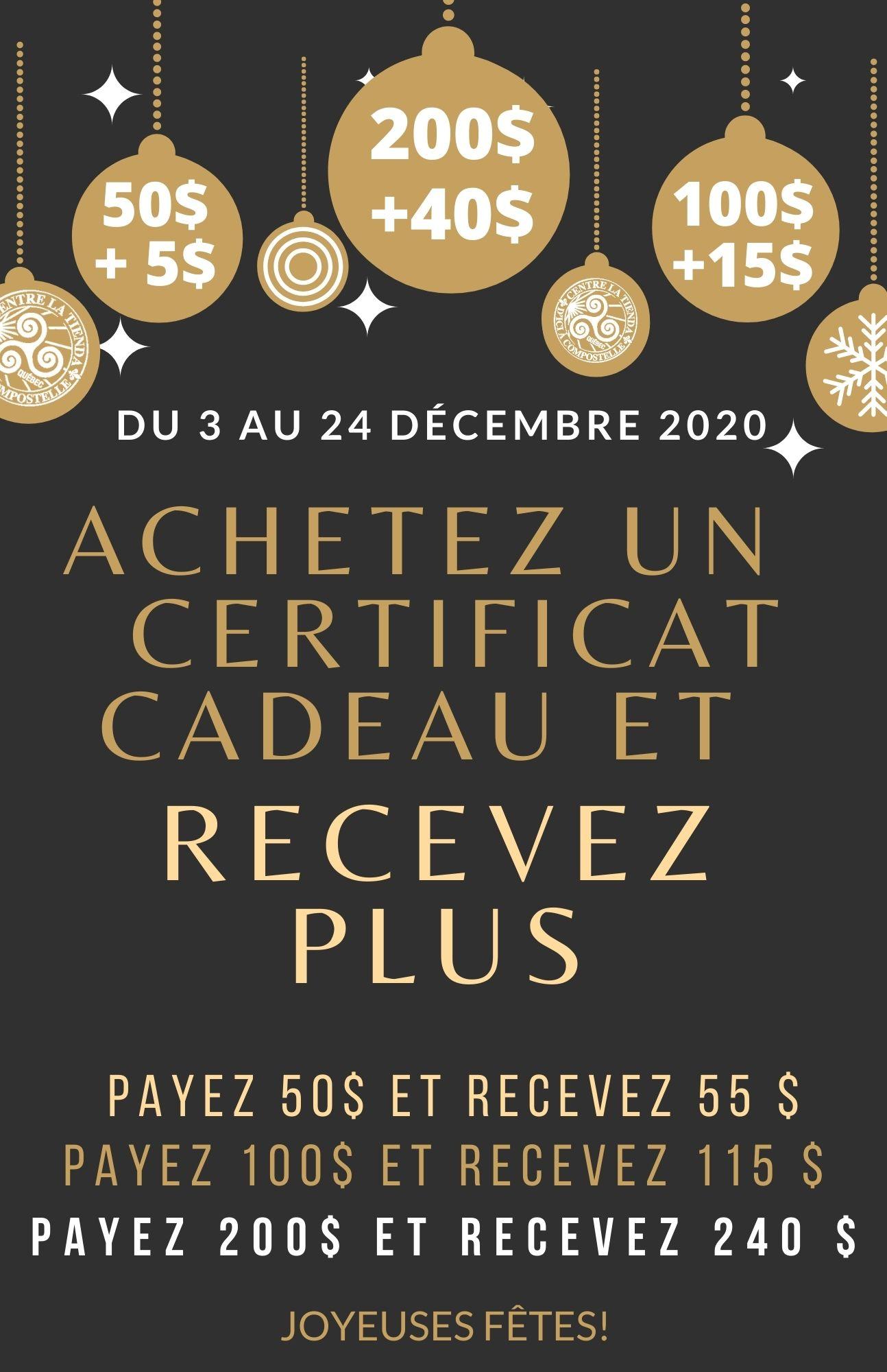 Promotion Certificats cadeaux